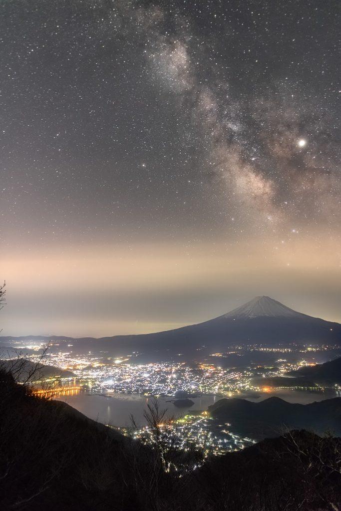 富士山,天の川,星