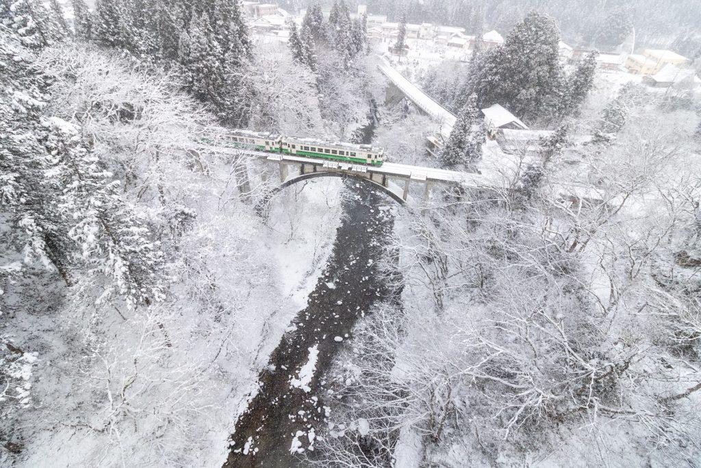 只見線,雪景色,電車,雪
