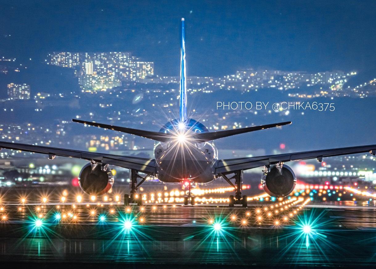 千里川土手,飛行機,夜景