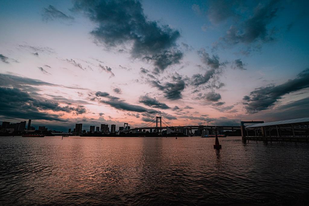 東京,夕陽,夕暮れ,お台場