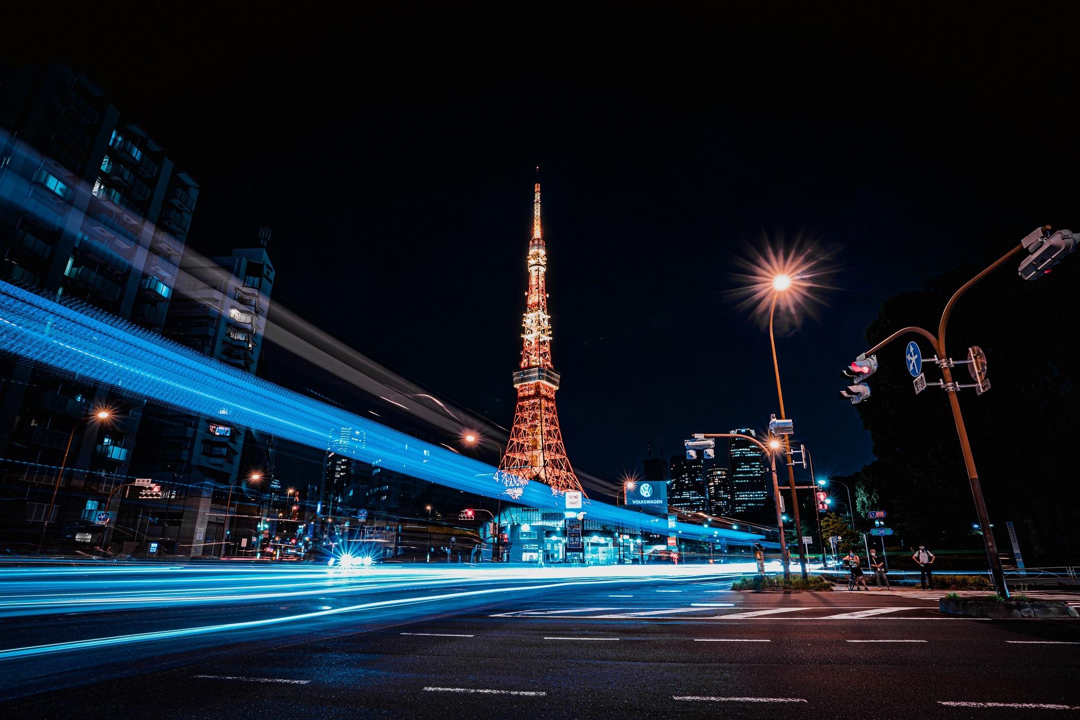 東京タワー,レーザービーム,夜景