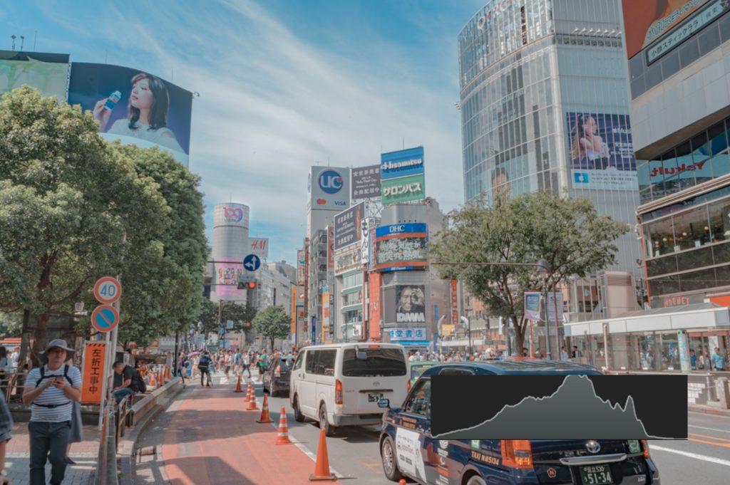 渋谷,スクランブル交差点,センター街,ヒストグラム