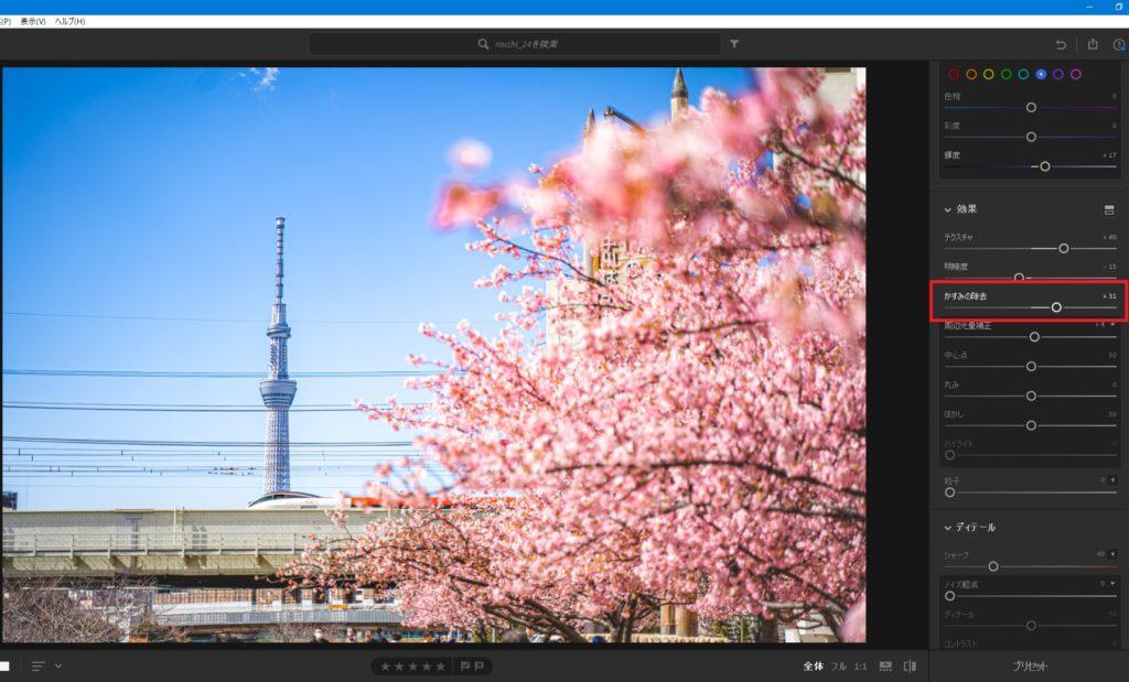 桜,スカイツリー,東京,かすみの除去
