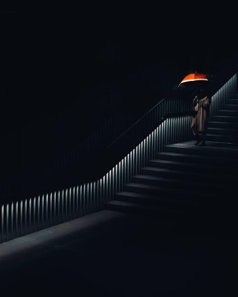 傘,赤,階段