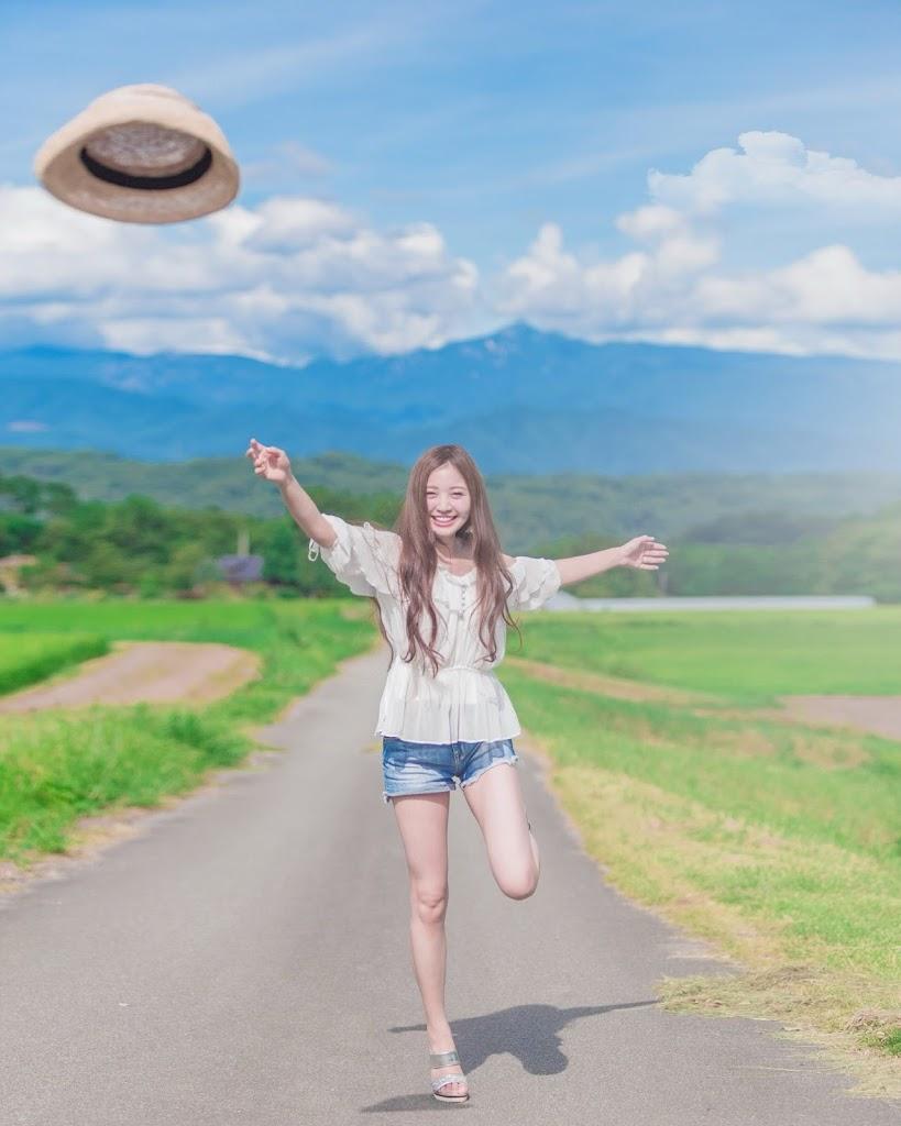 夏,モデル,麦わら帽子
