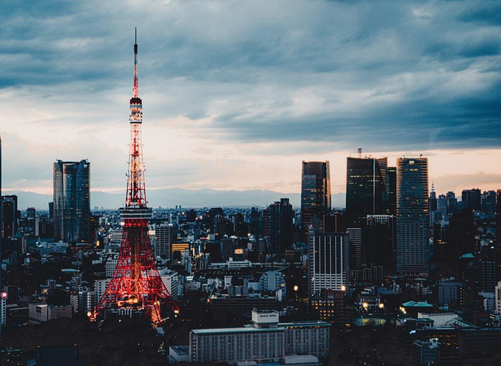東京タワー,夕陽,世界貿易センタービル